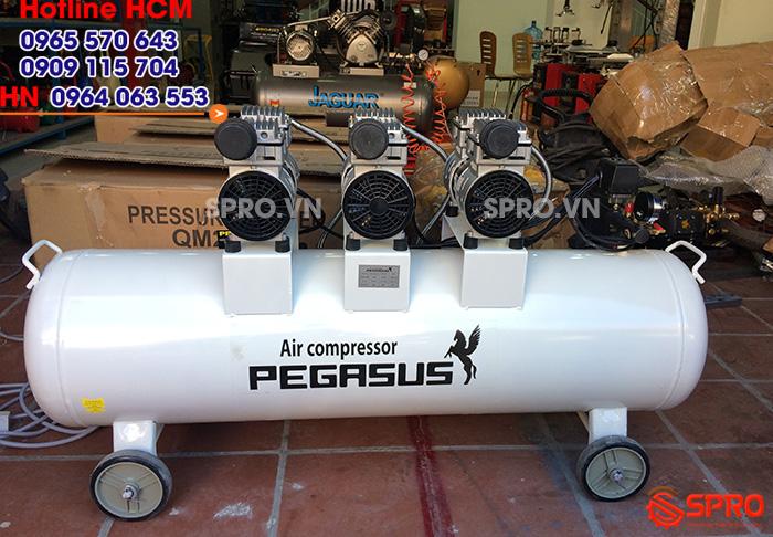 HCM - Bán máy nén khí không dầu giảm âm pegasus dung tích 120L giá rẻ