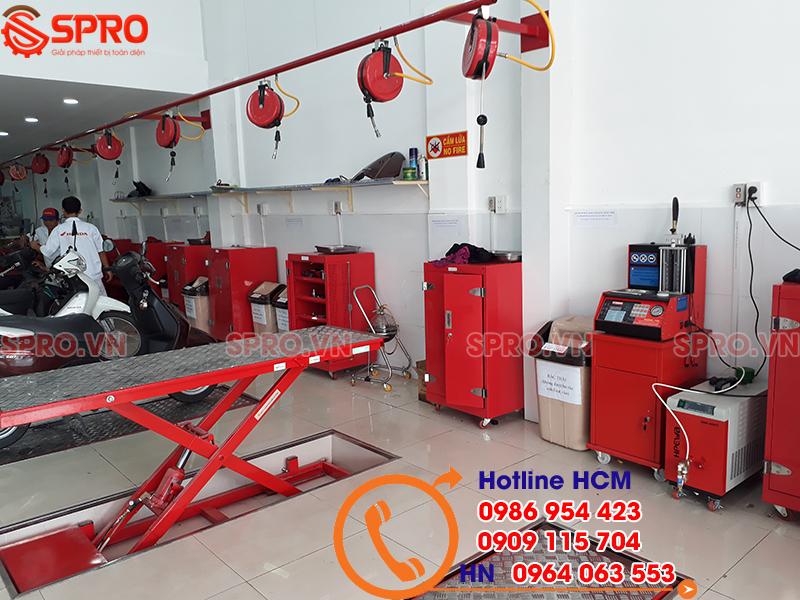 lắp đặt máy vệ sinh buồng đốt và hệ thống thiết bị sửa xe máy cho head honda